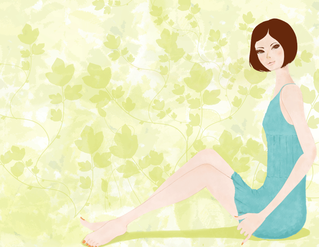 夏の女性のイラスト